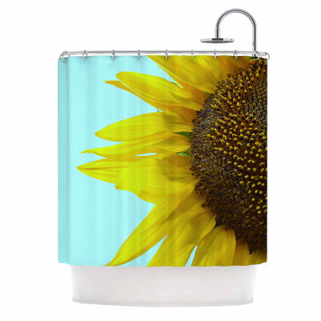 "Richard Casillas ""Sunflower Mint"" Yellow Teal Shower Curtain"
