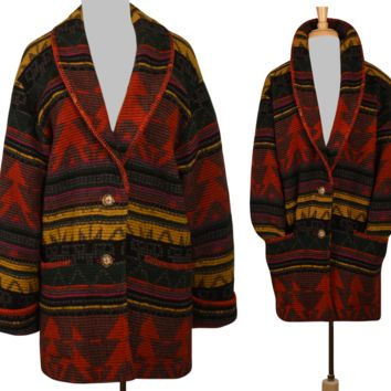 Vintage Southwestern Coat- Tribal Coat- Blanket Coat- Ethnic Coat- Indian Coat- Hippie Coat