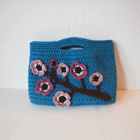 Sakura Crochet Handbag in Teal with Cherry Blooms, OOAK, ready to ship.