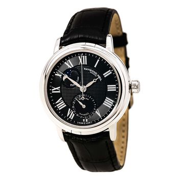 Raymond Weil 2839-STC-00209 Men's Maestro Black Dial Black Leather Strap Automatic Watch