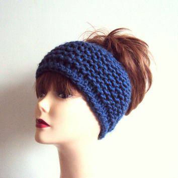 Knit Wool Earwarmer Chunky Headband Indigo Blue Hair Wrap Dreadlock Rasta Headband Women Fashion Accessories Hair Accessories Gift Ideas