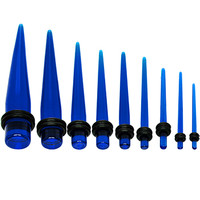 14 to 00 Gauge Nine Piece Blue Acrylic Ear Stretching Taper Kit | Body Candy Body Jewelry