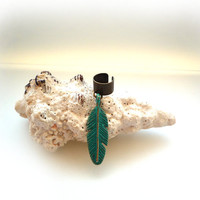 Beautiful Mix Of Antique Bronze Ear Cuff And Verdigris Patina Feather Charm ( A56 )