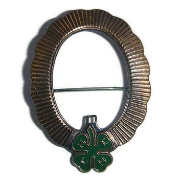 Antique 4 Leaf Clover Brooch Good Luck Shamrock Brass Pin Pendant Vintage St Patricks DayLucky Clover Jewelry Gift 4H Club Collectible 1920s