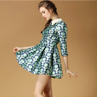 Blue Floral Pattern Print Sleeve Collar Pleated Dress