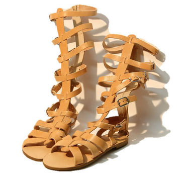 Greek Tan leather sandals, women sandals, knee high gladiator sandals, authentic handmade sandals, women shoes, stylish sandals