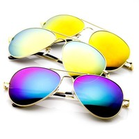 zeroUV® - Classic Metal Teardrop Color Mirror Lens Aviator Sunglasses w/ Spring Hinges