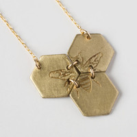 Etched Honeycomb Necklace - Bee Necklace - Hexagon Necklace - Geometric Jewelry