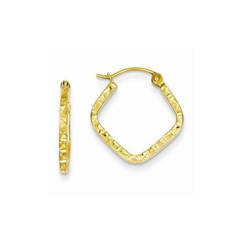 14k Yellow or White Gold Diamond Cut Squared Hoop Earrings