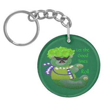 Alpha Green Bear Let the Good Times Roll Keychain