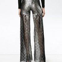 Huishan Zhang Metallic Flared Trousers - Farfetch