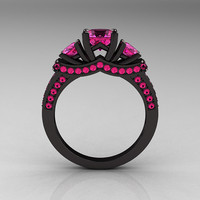 French 14K Black Gold Three Stone Pink Sapphire Wedding Ring, Engagement Ring R182-14KBGPSS