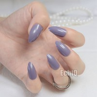 New Full Cover Purplish Grey False Nails Stiletto Nails Sexy Gray Acrylic Nail Tips Artificial Pointed Fake Nails Fuax Ongles