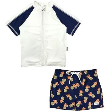 "Baby Boy Rash Guard Swimsuit Set & Board Shorts UPF 50+ | ""Pineapple Dreams"""