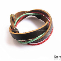 Adjustable Brown leather Cotton Rope Woven Bracelets mens bracelet cool bracelet jewelry bracelet bangle bracelet  cuff bracelet 1146S