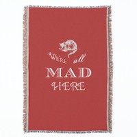 Cheshire Cat Mad Red Throw Blanket