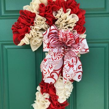 Candy Cane Door Hanger | Burlap Candy Cane Door Hanger | Candy Cane Decor | Candy Cane Wreath | Candy Cane Christmas Wreath | Candy Wreath