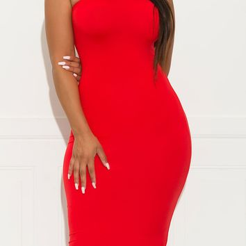 Make It Right Strapless  Dress  Red