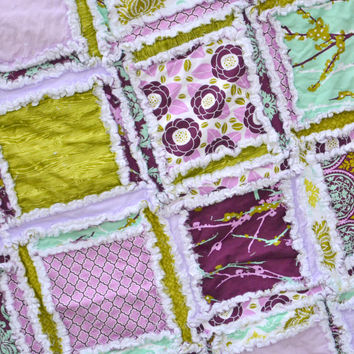 Purple and Green Toddler Bed Size Rag Quilt, Made to Order