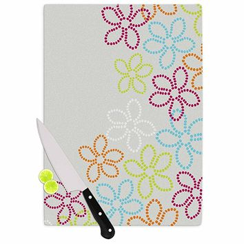 "KESS InHouse Julia Grifol ""Dancing Flowers"" Gray Orange Vector Cutting Board, 11.5"" x 15.75"", Multicolor"