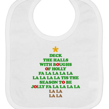 Deck the Halls Lyrics Christmas Tree Baby Bib