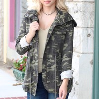 Camo Babe Hooded Utility Jacket {Army}