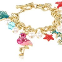 "Betsey Johnson ""Jewels of the Sea"" Sea Horse Multi-Charm Toggle Bracelet, 7.5"""