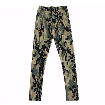 Army Green Camouflage Shiny Milk Leggings