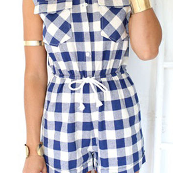 Sleeveless Plaid Drawstring Romper
