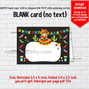 Instant Download, blank Card, #676 fiesta Mexican Party, food tent Card, place card, 3.5x2.5inch printable , non-editable NOT CUSTOMIZABLE