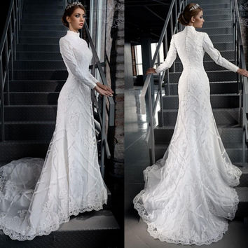 High Neck Gorgeous Modest White Lace Applique Beading Muslim Hijab Wedding Dresses Long Sleeves Bridal Gown