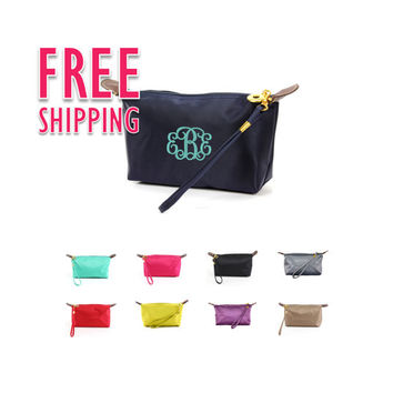 Monogrammed Bridesmaids Solid Color Cosmetic Bag Bundles Sold In Sets of 4, 5, or 6 Discounted 10%, Free Monogramming, and Shipping