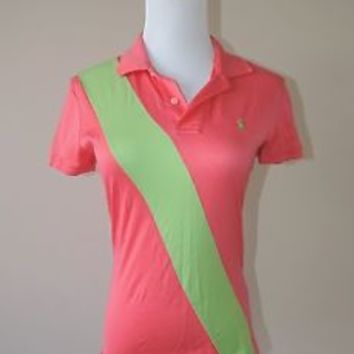 Women's Ralph Lauren Pink & Green Stripe Sash Polo Shirt Size Small