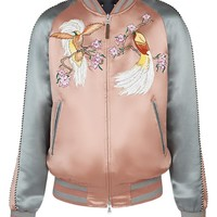 Indie Designs Bird Embroidered Pink Satin Skajan Souvenir Jacket