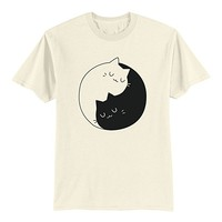 Unisex Adult T Shirt - Yin Yang Cats - Funny Shirt - Cats Lover - S - Ivory
