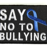"Embroidered Iron On Patch - Say No to Bullying [Support Ribbon] 2.75"" Patch"