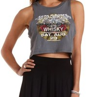 Gray Combo Guns N' Roses Graphic Crop Top by Charlotte Russe