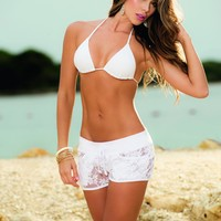 Hot White Short Shorts Beachwear Coverups