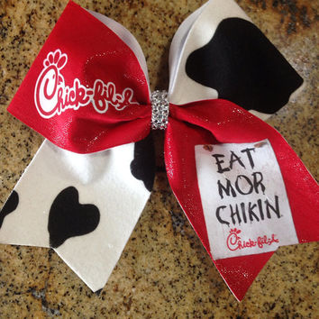 Cheer Bow- Chick Fil A Eat Mor Chikin