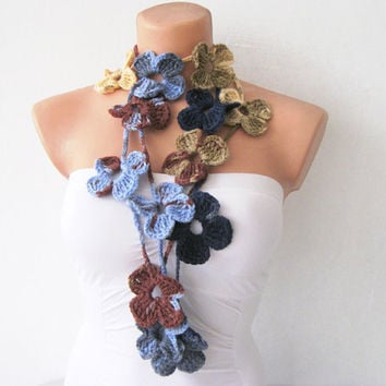 Hand Crochet Royal Blue Brown Flower Lariat Scarf by fairstore