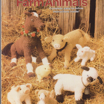 Baby Farm Animals crochet pattern booklet 7 designs colt, bunny, calf, kitten, lamb, chick, piglet in worsted weight yarn