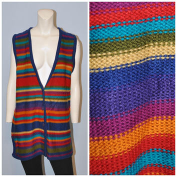 Vintage 1990's Rainbow Striped Sweater Vest Button Front Long Sleeveless Cardigan Sweater Size Large Deadstock Tags Attached NYC Sport
