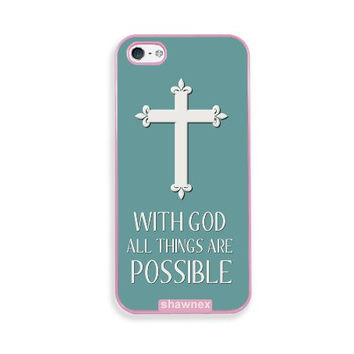 Shawnex Christian Cross Quote Pink Plastic iPhone 5 & 5S Case - Fits iPhone 5 & 5S