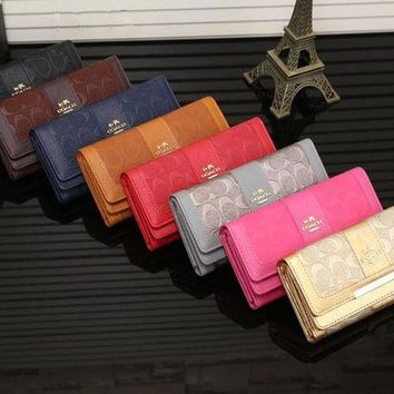 ONETOW Coach' Women Fashion Embossed Long Section Three Fold Multi-card Bit Purse Button Flip Wallet Handbag