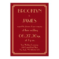 Great Gatsby Art Deco Red Wedding Invitations