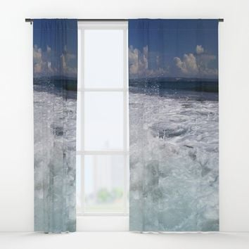 Sea Soul Waves Window Curtains by Azima