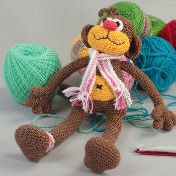 Cute handmade childrens toys crochet soft toy stuffed monkey toy gifts for kids