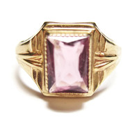 Antique 10K Yellow Gold Amethyst Baby Pinky Ring Size 3