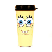 Silver Buffalo SpongeBob BPA-Free Plastic Travel Mug, 16 oz, Yellow