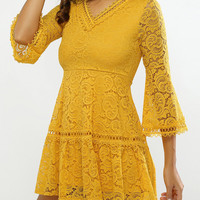 Yellow Bell Sleeves Guipure Dress